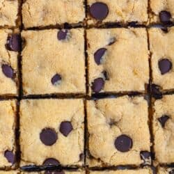 Paleo Blonde brownies cut into squares with chocolate chips.