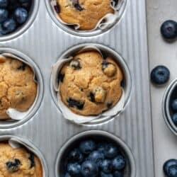 Cassava flour blueberry muffins in muffin pan